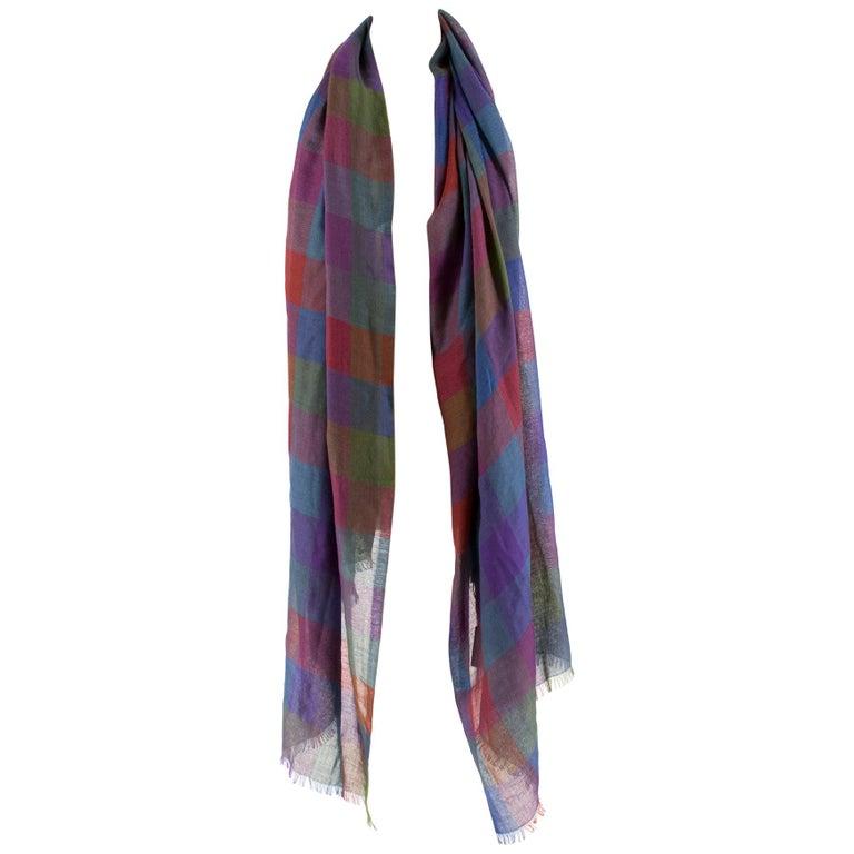 Loro Piana Cashmere & Silk-Blend Checked Shawl For Sale