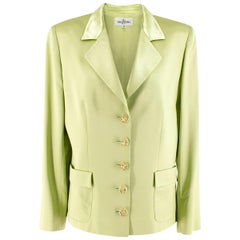 Valentino Lime Green Wool & Silk-blend Blazer US 8