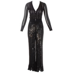Azzedine Alaia black sequin and beaded 3-piece pant suit, ss 1996