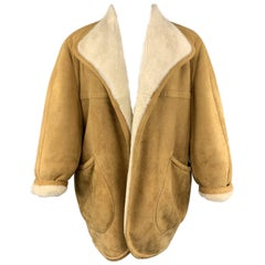 Vintage HERMES Size 10 Tan & Cream Shearling Coat / Jacket