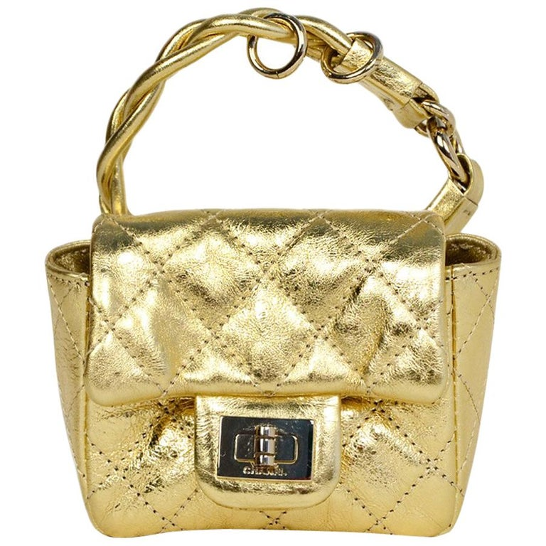 5a6332f9c4b052 Chanel Gold Leather Quilted 2.55 Re-Issue Ankle Flap Bag at 1stdibs