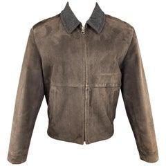 SALVATORE FERRAGAMO 38 Brown Suede Grey Collar Jacket