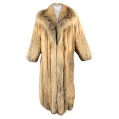 Vintage CUSTOM MADE M Gold Red Fox Fur Long Coat / Jacket