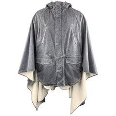 3.1 PHILLIP LIM S Washed Denim Look Cotton Hooded Cape Parka