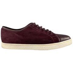JOHN LOBB Size 10 Burgundy Suede & Leather Low Top LEVAH Sneakers
