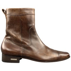 DSQUARED2 Size 10.5 Brown Antique Leather Side Zipper Cap Toe Boots