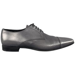 PRADA Size 10 Grey Perforated Leather Cap Toe Lace Up