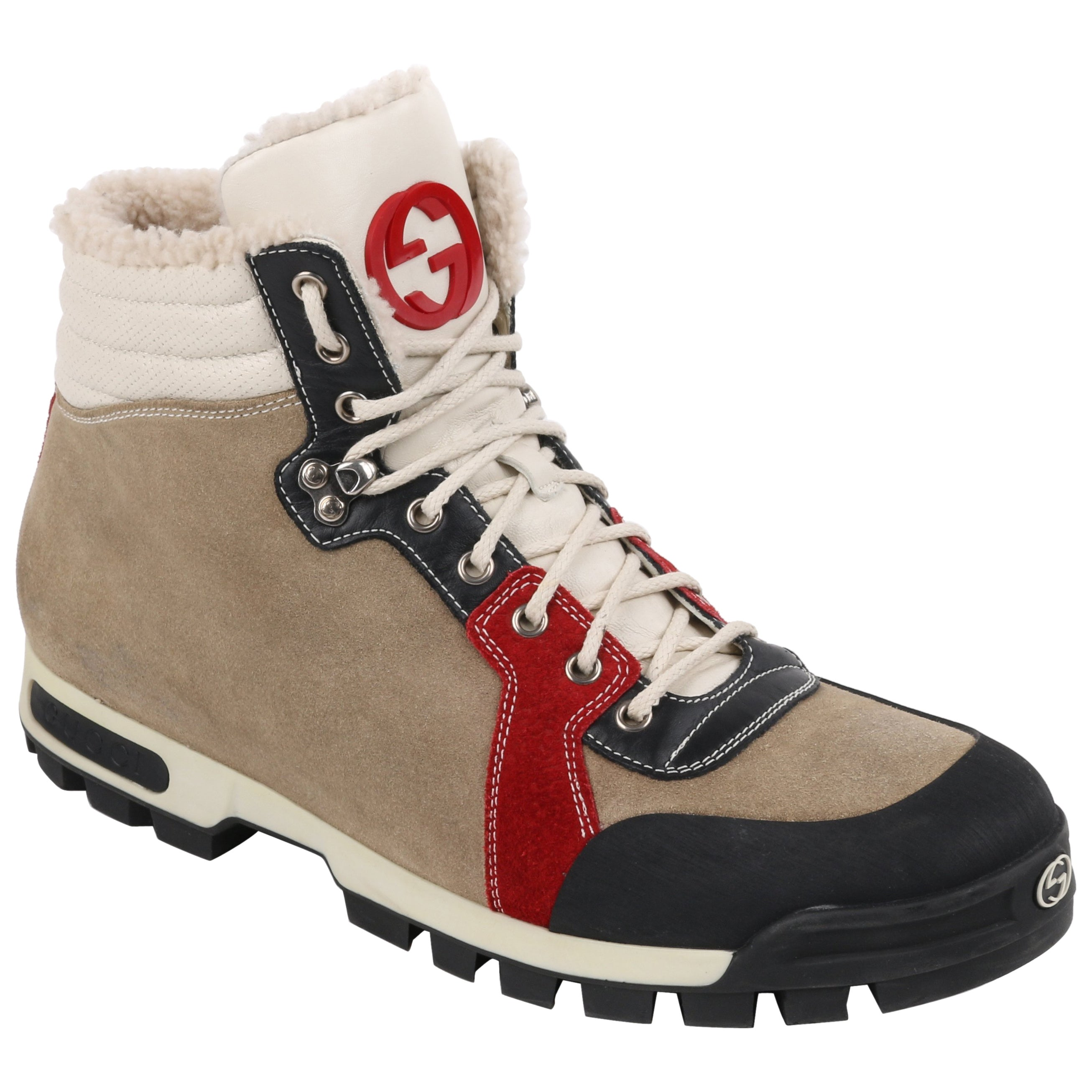19aba88bf5d GUCCI Suede Leather Shearling Lace Front Lug Sole Hiking Boots RARE For  Sale at 1stdibs