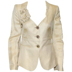 Giorgio Armani Beige Textured Brocade Jacket W/ Flower Decorated Lapel 40 EU