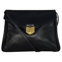 YSL Black Leather Envelope Dandy Maxi Flap Crossbody Bag