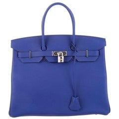 Hermès Birkin Epsom30 Bleu Electrique Blue Leather Tote
