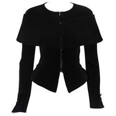 Giorgio Armani Black Silk Jacket With Off Shoulder Short Cape