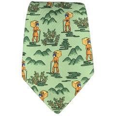 HERMES Explorer Green Silk Tie