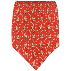 SALVATORE FERRAGAMO Tiger Print Red Silk Tie