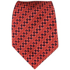 HERMES Zig-Zag Print Red Silk Tie