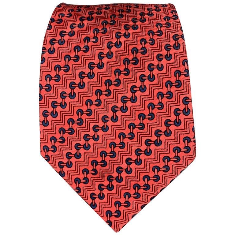 HERMES Zig-Zag Print Red Silk Tie For Sale
