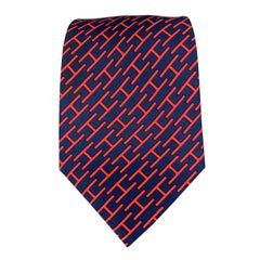HERMES Navy & Red Silk Tie