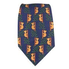 HERMES Bear Print Navy & Brown Silk Tie