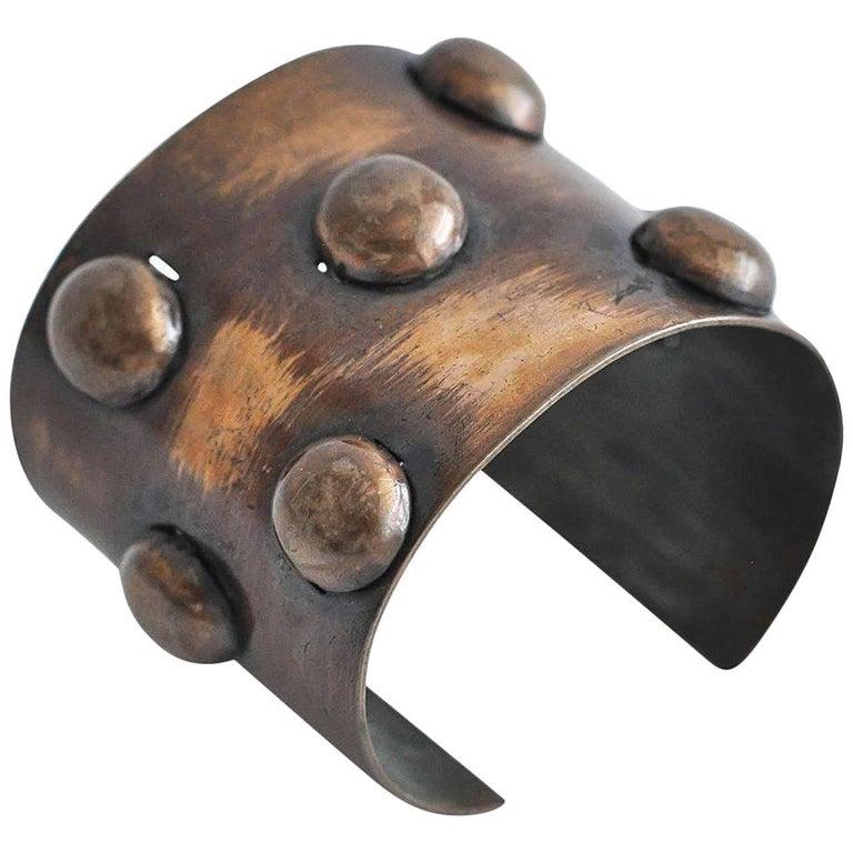 1950s Rebajes Geometric Copper Cuff For Sale