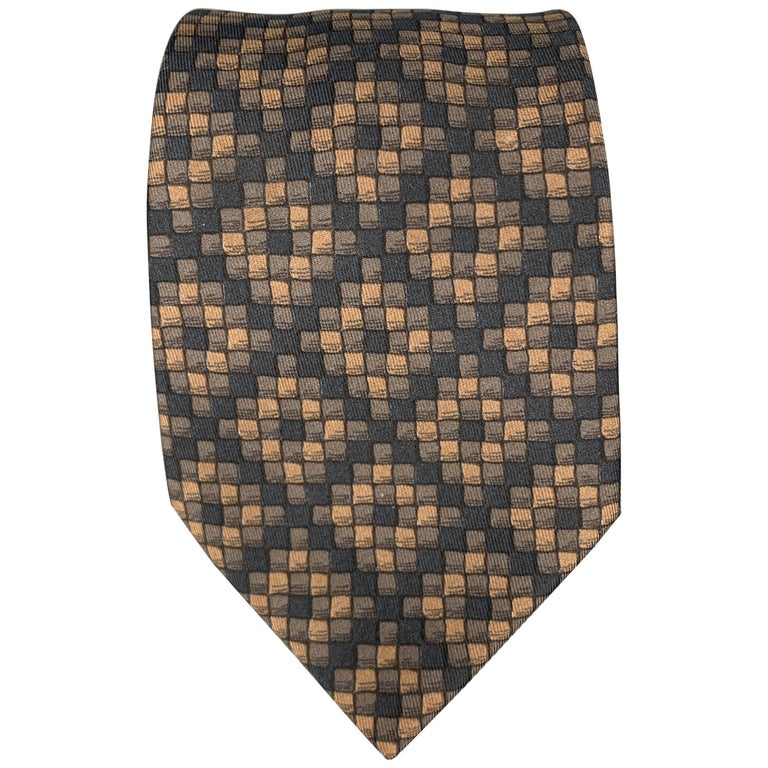 HERMES Checkered Black & Brown Silk Tie For Sale