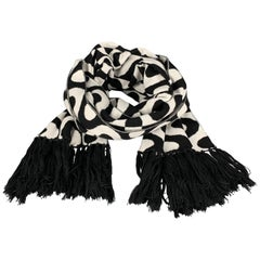 MR TURK Size Black & White Merino Wool Fringe Scarf