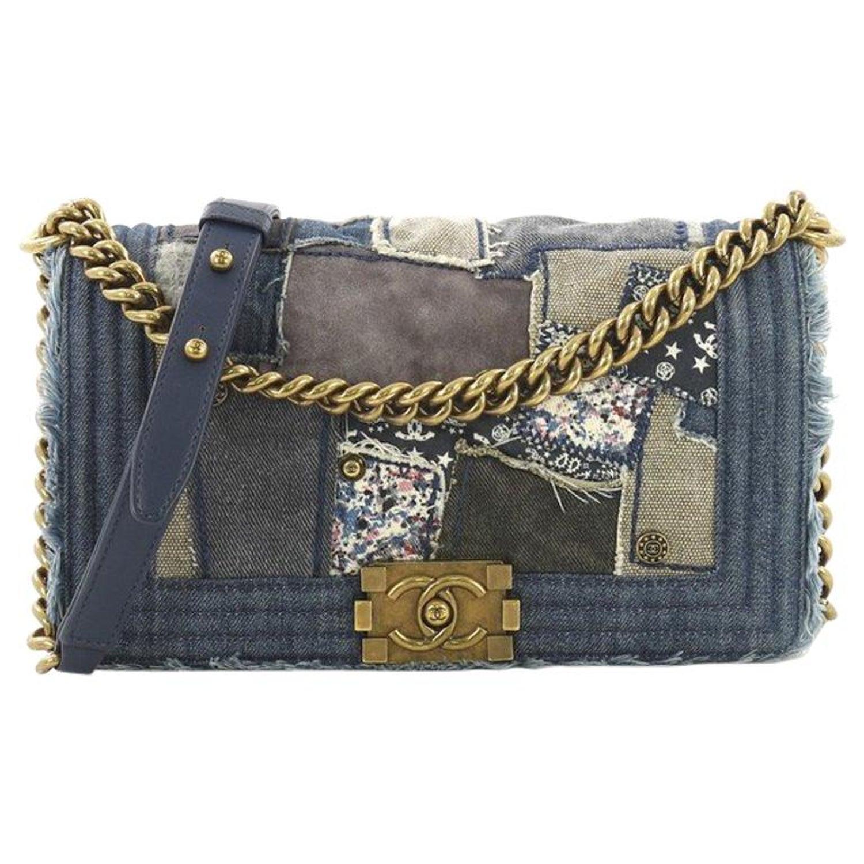 5b89bb4e43fc Chanel Boy Flap Bag Denim Patchwork Old Medium at 1stdibs