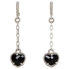 Judith Ripka Sterling Silver/Onyx Heart Drop Earrings