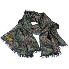 LORO PIANA Black Cashmere - Silk Printed Scarf