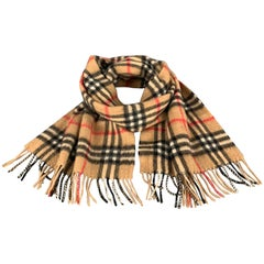 BURBERRY Tan Cashmere Signature Plaid Scarf