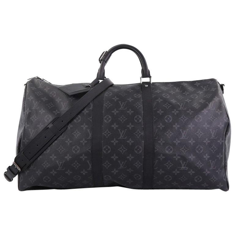 90120115fd4f Louis Vuitton Keepall Bandouliere Bag Monogram Eclipse Canvas 55 For Sale