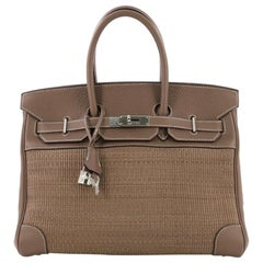 f3cc3079b6740 Hermes Birkin Handbag Etoupe Crinoline and Clemence with Palladium Hardware  35