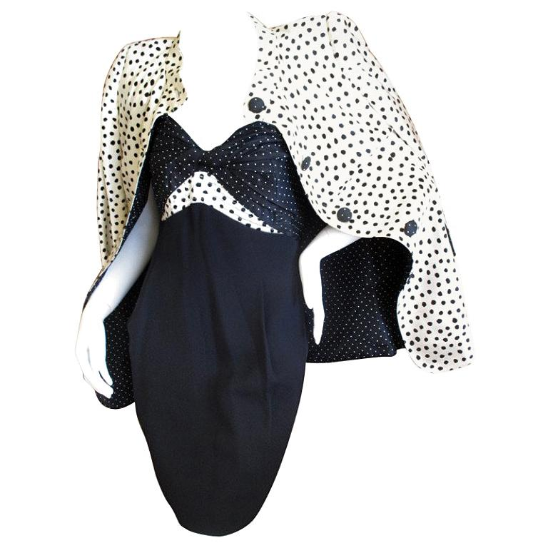 Geoffrey Beene 1980's Polka Dot Silk Strapless Dress and Matching Jacket For Sale