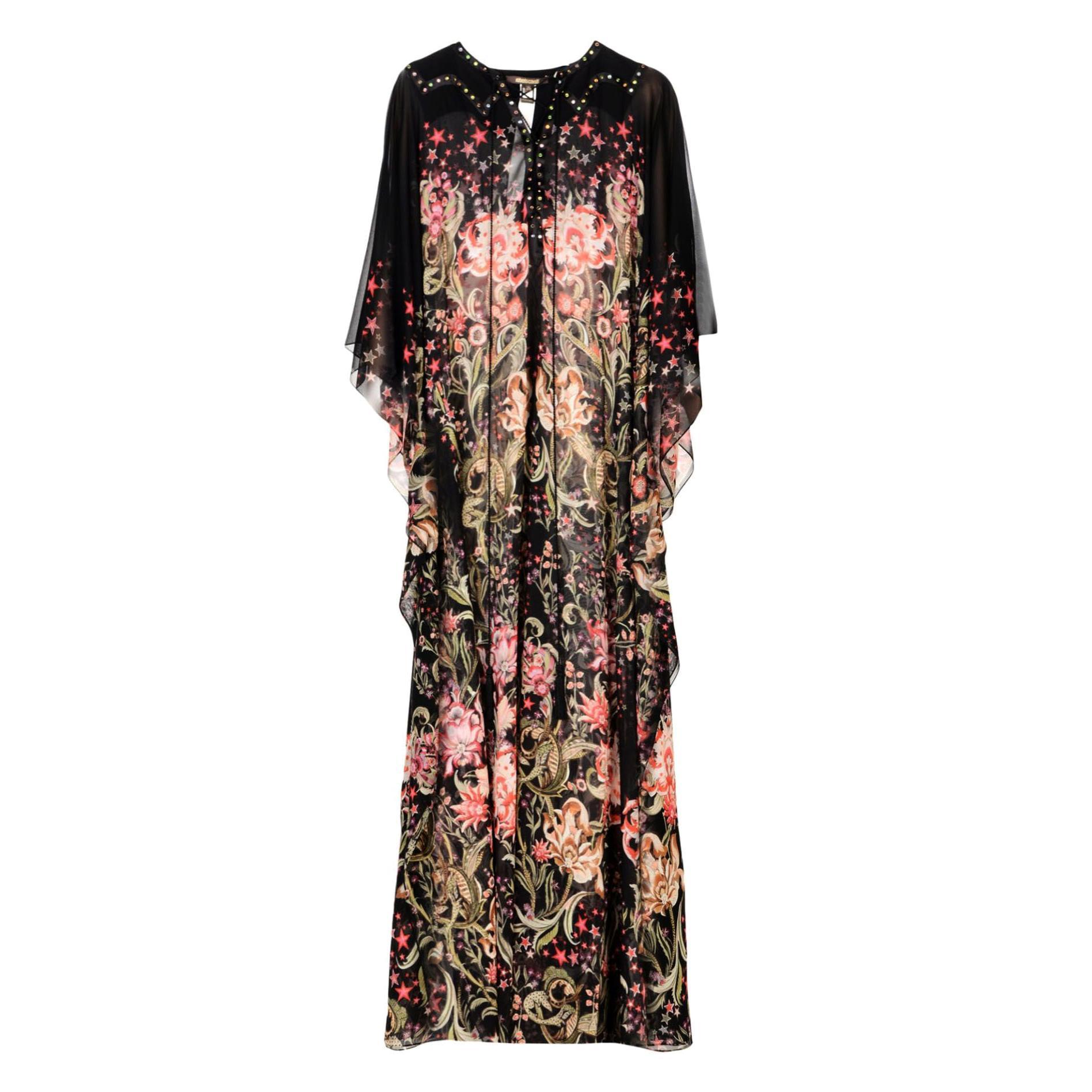 New Roberto Cavalli 100% Silk Studded Floral Caftan-Style Long Dress w / Belt 40