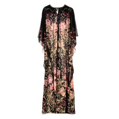 New Roberto Cavalli 100% Silk Studded Floral Caftan-Style Long Dress w / Belt 40