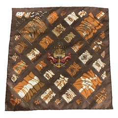 HERMES Pavois Brown Silk Printed Pocket Square