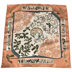 HERMES Neige D'antan Peach Silk Pocket Square