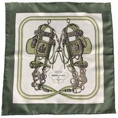 HERMES Brides de Gala Olive Silk Pocket Square