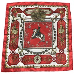 HERMES Lvdovicvs Magnvs Red Silk Pocket Square