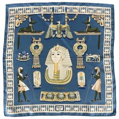 HERMES Tutankhamun Blue Silk Pocket Square