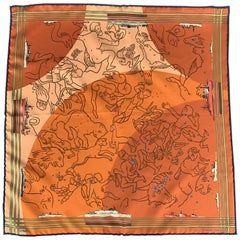 HERMES Constellations Orange Silk Pocket Square