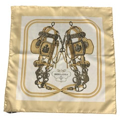 HERMES Brides de Gala Beige Silk Pocket Square