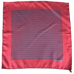 HERMES Chainlink Burgundy Silk Pocket Square