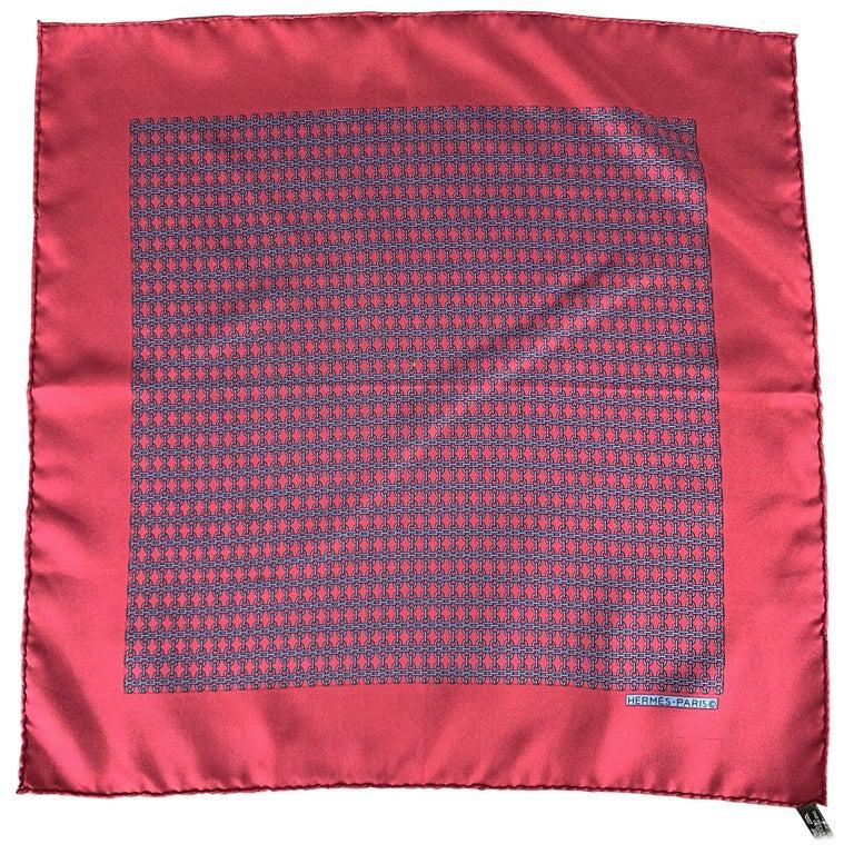 HERMES Chainlink Burgundy Silk Pocket Square For Sale