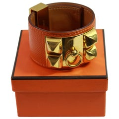 "Hermes Bracelet Collier de Chien ""medor"" in Grained orange Leather and Golden HW"