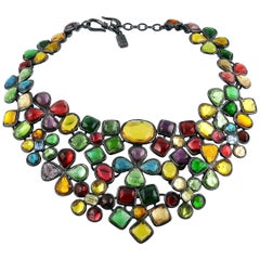 Yves Saint Laurent YSL Vintage Opulent Colourful Resin Floral Bib Necklace