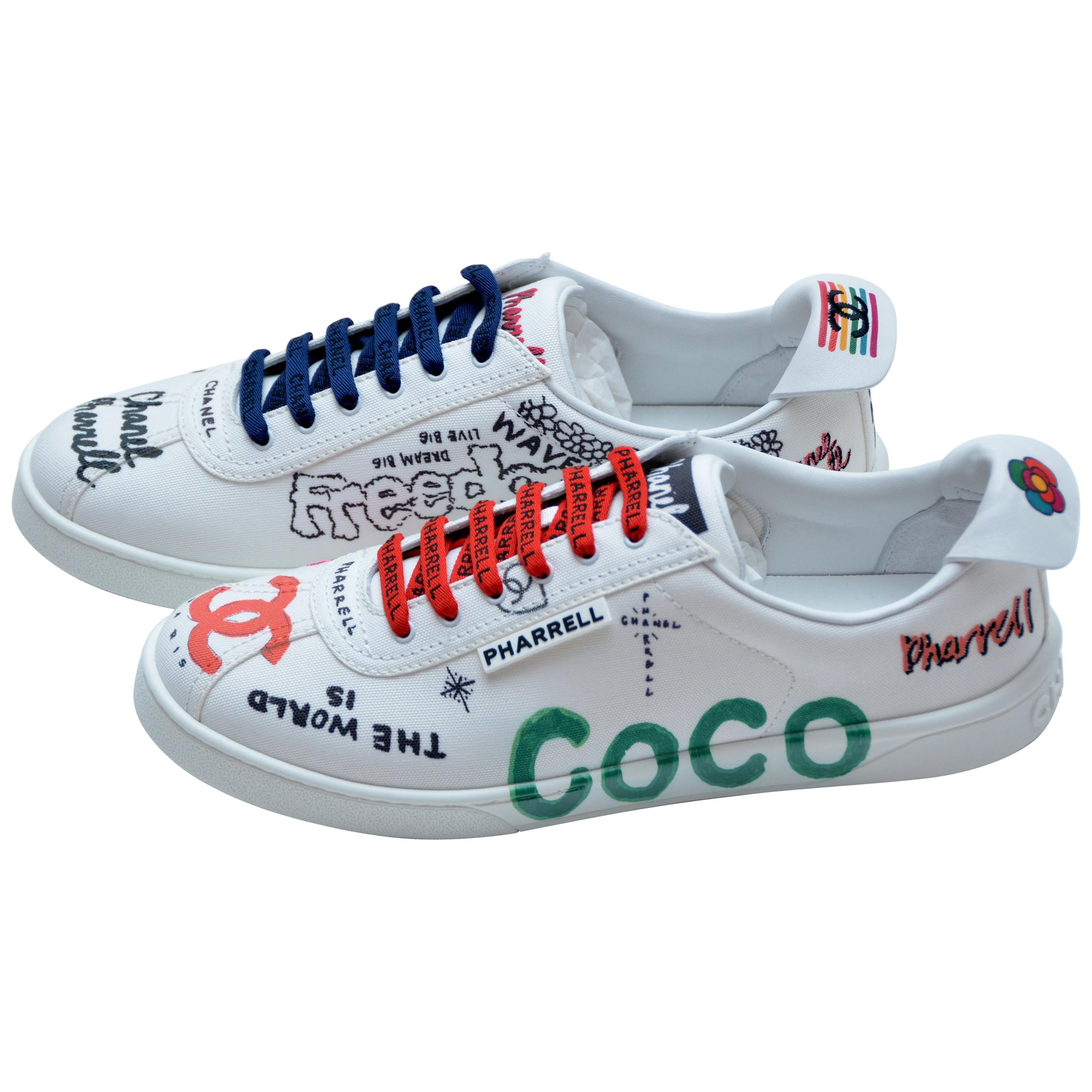 51dd0a3b0a4f54 Chanel x Pharrell Capsule Collection Canvas Sneakers Size 39.5 Woman NEW  For Sale at 1stdibs