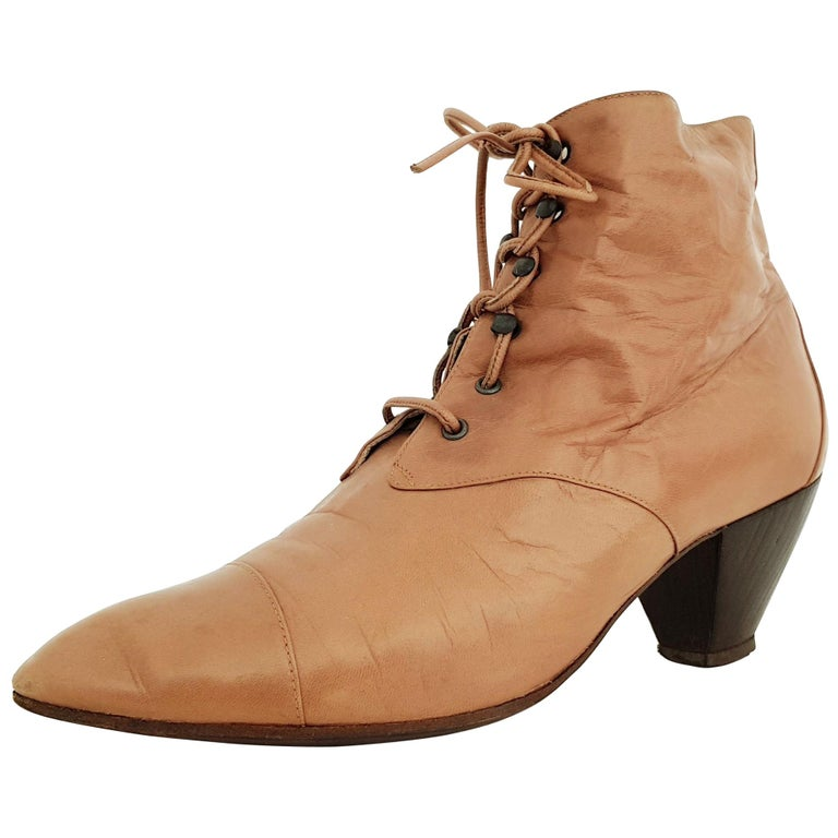 8e1aac585c2 Maud Frizon Leather Ankle Heeled Boots With Wooden Sole - Size 39 1/2 (EU)