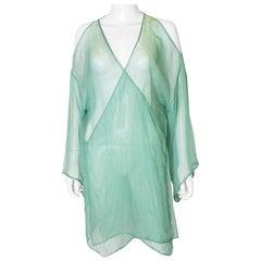 Vintage Green Silk Chiffon Top