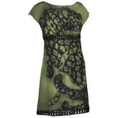 Prada Green Black Chain Inset Printed Shift Dress, Resort 2009