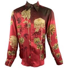 GUCCI by TOM FORD M Burgundy Floral Silk French Cuff Long Sleeve Shirt